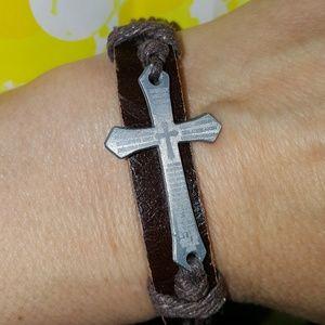 RopeCrossEtchedLatinPrayer String Tie Bracelet